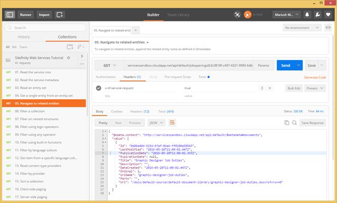 Postman sample oData queries - Sitefinity CMS Development