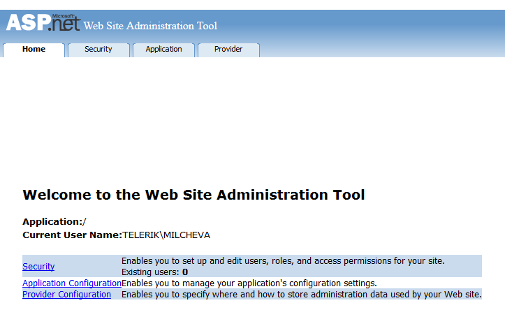 Implement an ASP NET SQL membership provider - Sitefinity