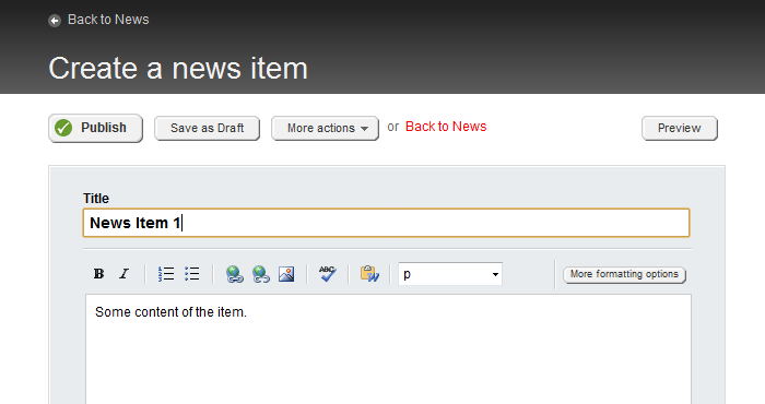 Create a news item from the user interface