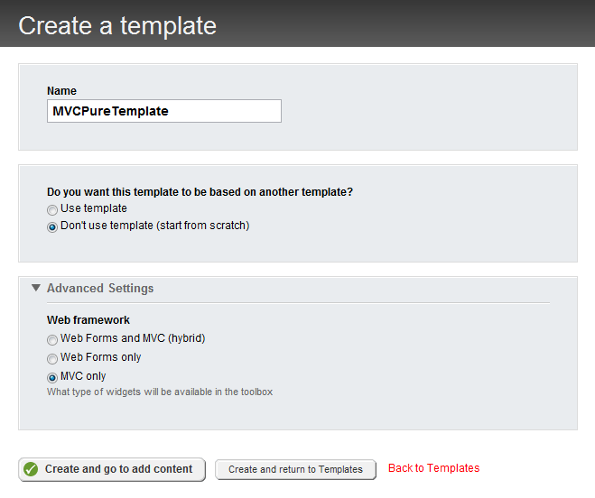 Pure MVC mode - create a template