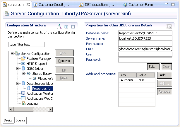 Set DataDirect SQL Server JDBC Driver Connection URL in WLP