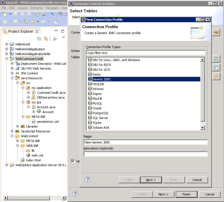 Select Generic JDBC driver from Websphere Connection Profile