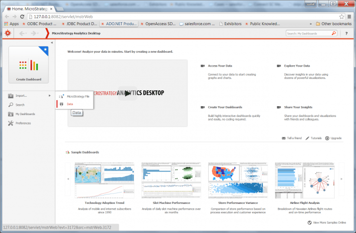 An example screenshot of MicroStrategy Active Desktop