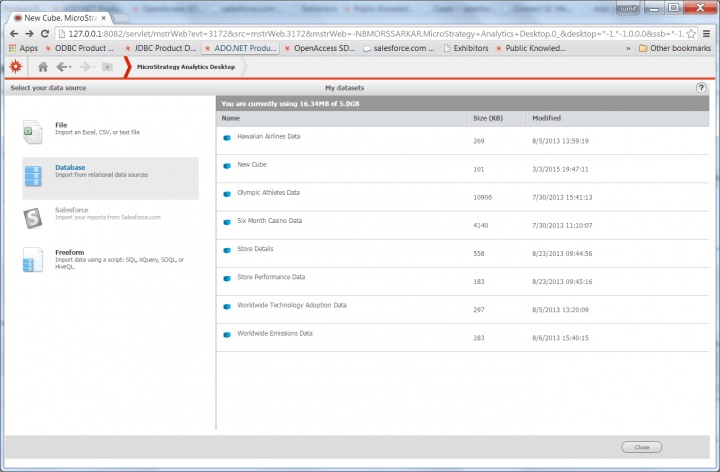 A screenshot of MicroStrategy Active Desktop's Import Database wizard