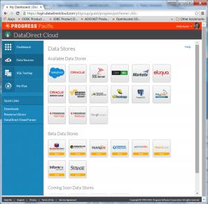 screenshot of DataDirect Cloud data sources