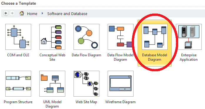 Next, select 'Database Model Diagram'