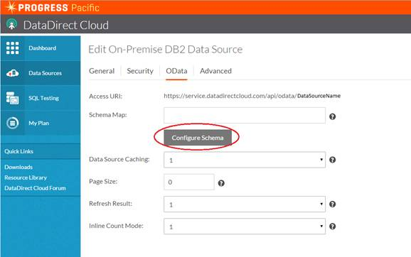 Adding OData to a DataDirect Cloud source