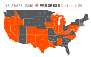 US states using Progress Corticon as of March 2015