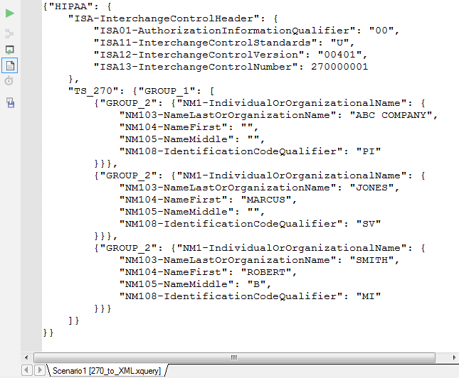 The output has been converted to JSON based on the XML Schema defined